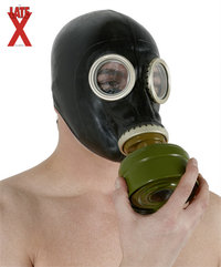 Zwart latex gas mask